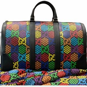 Gucci Psychedelic holdall duffle black rainbow multicolor weekend travel bag LE